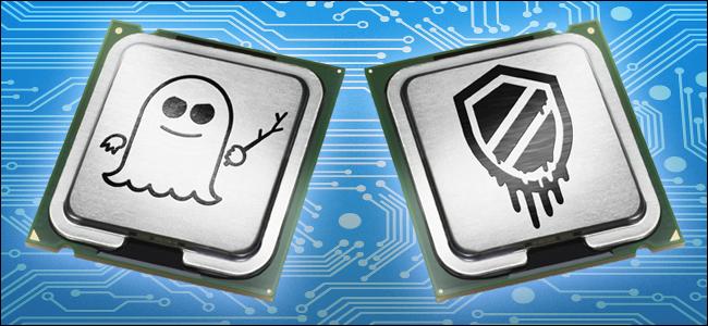 وحدة معالجة مركزية منمقة مع شعارات Spectre و Meltdown.