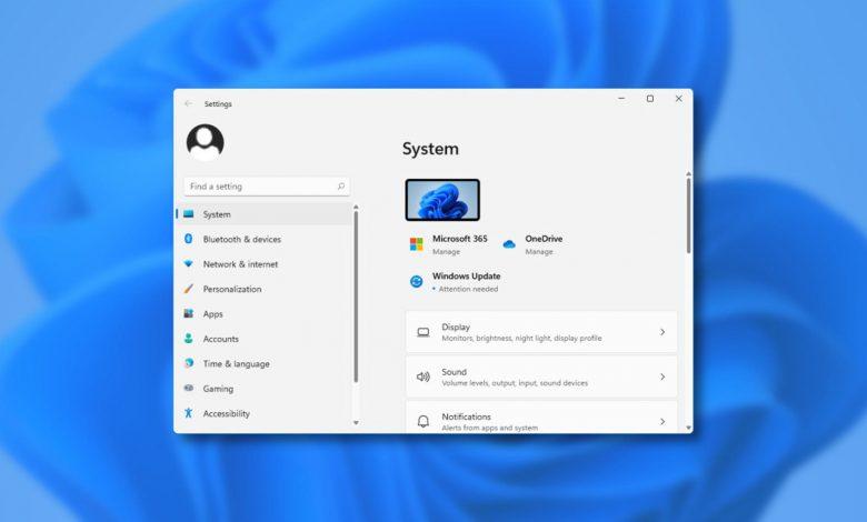 هذا ما يبدو عليه تطبيق الإعدادات لنظام التشغيل Windows 11