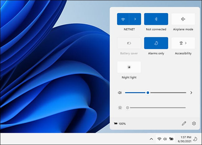 قائمة الإعدادات السريعة لنظام التشغيل Windows 11