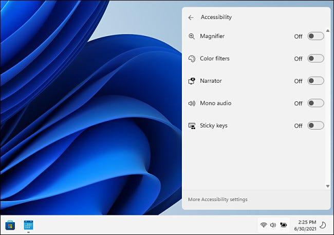 خيارات الوصول في قائمة الإعدادات السريعة لنظام التشغيل Windows 11.