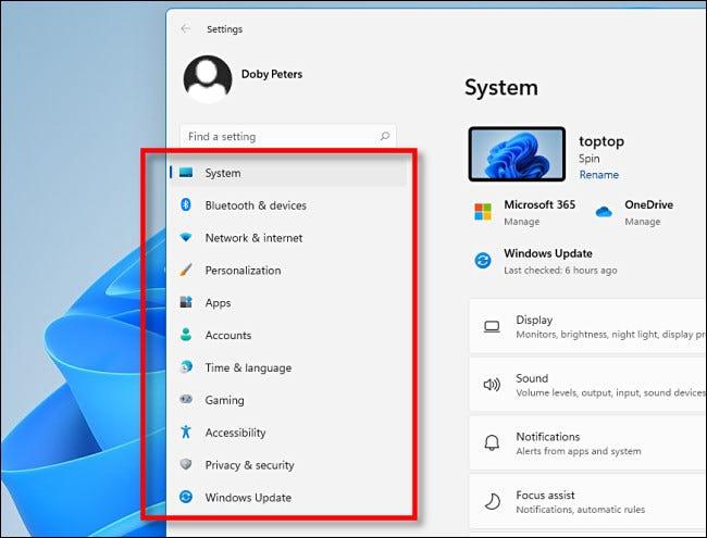 الشريط الجانبي في إعدادات Windows 11.