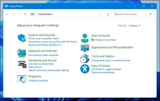 لوحة التحكم في Windows 11.